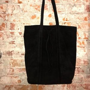 Street Level Black Suede Tote Bag with Drawstring